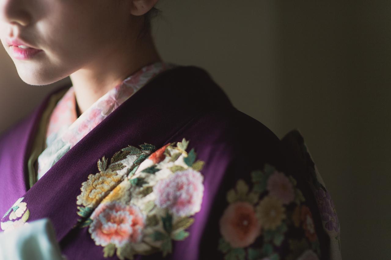 紫手刺繍花丸紋1