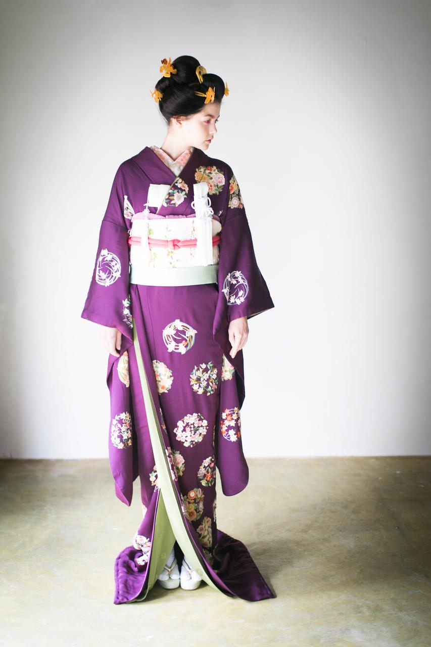 紫手刺繍花丸紋2